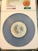 2000 Mexico Silver Libertad 2 Onza Ngc Ms 64 Very Scarce Low Mintage 2 Oz