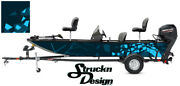 Modern Shape Blue Pontoon Wrap Fishing Abstract Us Graphic Bass Boat Decal Vinyl