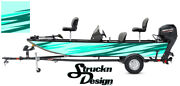 Teal Grunge Fish Pontoon Wrap Fishing Abstract Graphic Bass Boat Decal Vinyl Usa