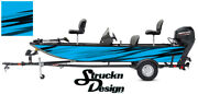 Blue Grunge Fish Pontoon Fishing Abstract Graphic Bass Boat Vinyl Wrap Decal Usa