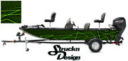 Neon Lime Lines Modern Grunge Pontoon Fishing Graphic Bass Boat Vinyl Wrap Decal