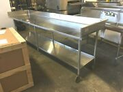 Table 120 All Stainless-steel On 6 Casters With 5 Splash All Around