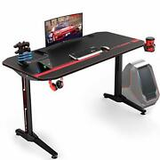 Ergonomic Gaming Desk With Usb Handle Rack And Full Desk Mouse Pad T-shaped New