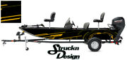 Pontoon Fishing Graphic Decal Boat Vinyl Wrap Modern Lines Shapes Neon Us Yellow