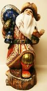 Alkota Russian Authentic Wooden Collectible Santa Claus Peter Ii, 16h X 7w