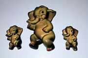 Vintage 50s/60s Chalkware Elephant Wall Plaques 1 Large 1 Small Hand Painted