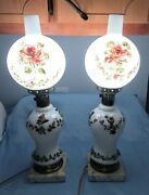 Vintage Set Of Two Matching Hand-painted Roses Hurricane Gone With The Wind Lamp