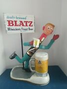 Vtg 1950s Blatz Beer Bottle Man Ice Skater Back Bar Firgue Statue Complete Rar