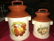 2 Vintage 1974 Atlantic Mold Milk Can Canisters W/ Lid Still Life Fruit 10 Tall
