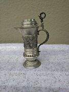 11 Antique Multiple Figurines Designed Stein Pewter Tankard Germany Early 1900