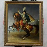 Old Master-art Antique Oil Painting Portrait Aga Horse On Canvas 30x40
