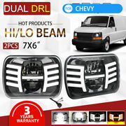 2x 7x6 Led Headlights Amber Halo Drl For Chevy Express Cargo Van 1500 2500 3500