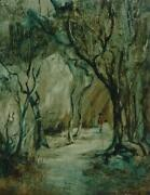 Vintage Oil On Masonite Sheltered Pathway By Norman Robins 1914-1988 German