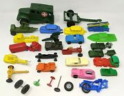 Vtg Lot Of 29 Mixed Plastic Toy Car Motorcycle Boat Vehicles Wheels Parts Pieces