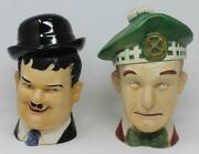 Cumberland Ware Oliver Hardy And Stan Laurel Cookie Jars Matte Finish
