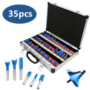 Router Bits Set 35 Pc 1/4 Inch Shank Carbide Kit Practical Woodworking Tool