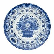 Royal Delft Plate With Flowers Basket The Original Blue Collection - Royaldelft