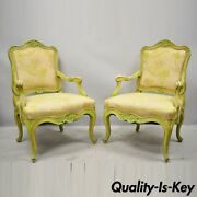 Italian Rococo Hollywood Regency Green Painted Fireside Lounge Arm Chairs - Pair