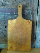 Farmhouse Primitive Wooden Cutting Board Lollipop Handle Nice Coloring And Patina