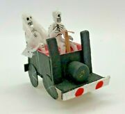 Day Of The Dead Paper Mache Bride And Groom In Car Wedding Miniature 2