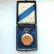 Antique Imperial Menand039s Pocket Watch Rose Gold 56 Working In Original Box 43 Mm