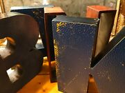 X4 Vintage 3-d Salvaged Industrial Authentic Bank + Dept. Store Letters Sign