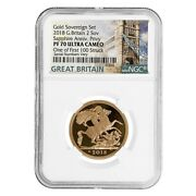 2018 Great Britain Proof Gold British 2 Sovereign Sapphire Anniv. Privy Ngc Pf