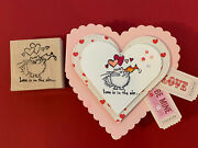 Fluffles Love Is In The Air - Cat Kissing Fish Valentines Day Rubber Stamp Card