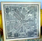 Lovely Vintage Illustrated Map Of Chicago Il Architecture Buildings Ltd Edition
