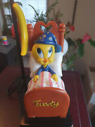 Extremely Rare Looney Tunes Tweety In Bed At Night Figurine Table Lamp Statue