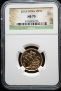 2013-i India Gold Sovereign Ngc Ms-70 3270 Beautiful Coin