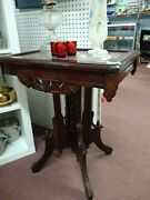 Eastlake Parlor End Table, Tennessee Marble Top, Very Good Antique Condition