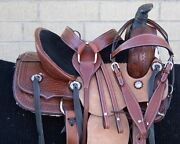 Western Leather Horse Roping Saddle Kids Team Roping Barrel Tack Used 12 13 14