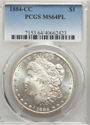 1884-cc Morgan Dollar Pcgs Ms64pl Prooflike With Frosty Cameo Liberty And Eagle