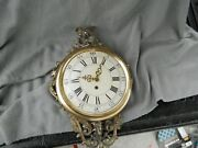 Antique/vintage Brass And Wood Wall Clock Key Wind With Bird And Nest Estate Parts