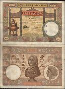 French Indo China 100 Piastres P-51 C 1932 Large Aunc Rare Vietnam Currency Note