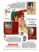 1953 Admiral Console Television / Waly Disney's Peter Pan / Vintage Print Ad
