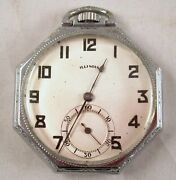 Illinois Octagonal Silver Tone Pocket Watch Open Face 15 Jewels Mafw6