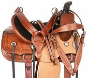 Western Horse Saddle Trail Ranch Work Team Roping Leather Tack Set 12 13 14