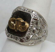 Us Army Airborne Jump School Parachutist Menandrsquos Sterling Silver Ring Size 10 1/4