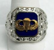 Us Army Airborne Jump School Parachutist Menandrsquos Sterling Silver And Enamel Ring