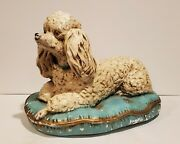 Stunning Large Vintage Plaster White French Poodle Dog On Blue Pillow Statue Old