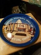 1960and039s Pro Football Hall Of Fame Canton Ohio Metal Serving Tray 14 Diameter++++