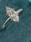 Real Genuine Diamond Engagement Ring 1.25 Ct Marquise 14k White Gold D/vs1