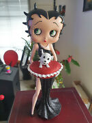 Extremely Rare Betty Boop In Black Glitter Dress With Pudgy Figurine Statue