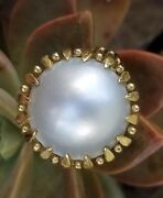 Vintage 14k Gold Mabe Pearl Ring-pearl Jewelry-estate Jewelry Large Size 7 7gm