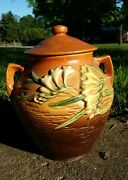 Roseville Pottery Freesia Brown Cookie Jar 4-8 Perfect No Cracks Or Missing Top
