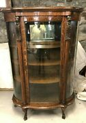 Antique 19th Century Carved Lion Oak Bow Front China Cabinet Beautiful No Res.