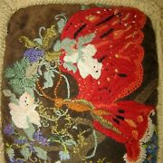 Vintage Embroidered Crewel Pillow Butterfly On Flower Branch With Border Antique