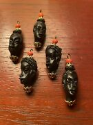 33 Vintage Plastic Beautiful African Woman's Head Beads Afro-hip Queen Jewelry